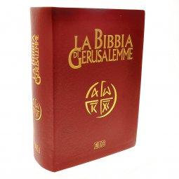 Copertina di 'La Bibbia di Gerusalemme (copertina in pelle color rosso bordeaux e taglio oro - tascabile)'
