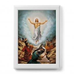 """Copertina di 'Quadro """"Risurrezione di Cristo"""" con cornice decorata a sbalzo - dimensioni 78x58 cm'"""