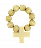 Rosario basco con dieci grani in legno ovali e legatura in elastico - grezzo