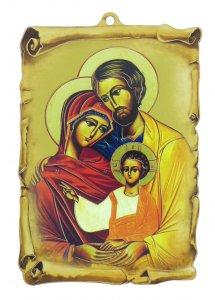 Copertina di 'Tavoletta della Sacra Famiglia a forma di pergamena, stampa stile icona su carta applicata a MDF (9,7 x 15 cm)'