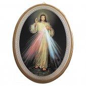 """Icona ovale laccata oro """"Gesù Misericordioso"""" - dimensioni 21,5x16 cm"""