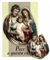 Benedizione della Famiglia  ( pacco da 10) con calamita in legno Sacra Famiglia - italiano
