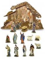 Gruppo da 15 pezzi con capanna Linea Martino Landi - presepe da 10 cm