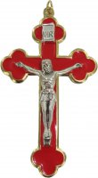 Croce in metallo dorato con smalto rosso e Cristo riportato - 8 cm