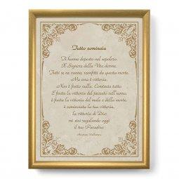 """Copertina di 'Quadro con preghiera """"Tutto comincia"""" su cornice dorata - dimensioni 44x34 cm'"""