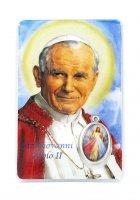 Card  San Giovanni Paolo II con medaglia resinata Gesù Misericordioso cm 5,5 x 8,5