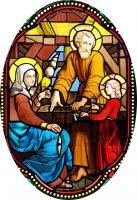 Immagine di 'Quadro Santa Famiglia in legno ad arco - 10 x 27 cm'