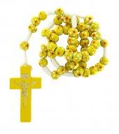Rosario in legno economico fiore legatura corda mm 7- giallo