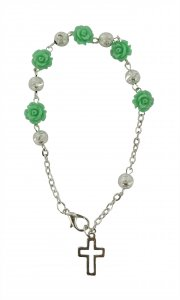 Copertina di 'Braccialetto con roselline verdi e grano in ottone da 6 mm in confezione'