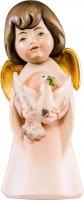 Statuina dell'angioletto con colomba, linea da 8 cm, in legno dipinto a mano, collezione Angeli Sognatori - Demetz Deur