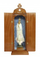 Statua Madonna di Fatima dipinta a mano (49 cm) con custodia/vetrinetta espositiva in legno (70 cm)