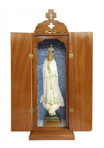 Copertina di 'Statua Madonna di Fatima dipinta a mano (49 cm) con custodia/vetrinetta espositiva in legno (70 cm)'