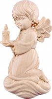 Angelo Pitti con candela - Demetz - Deur - Statua in legno dipinta a mano. Altezza pari a 10 cm.