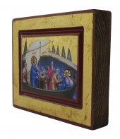 Immagine di 'Icona Gesù e Discepoli - tempesta sedata, produzione greca su legno (13,5 x 10,5 cm)'