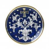 """Patena in ceramica """"Modello Fondo Blu e Oro"""" - 15 cm"""