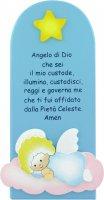 Pala Angelo di Dio in legno colorato azzurro cm 28x12