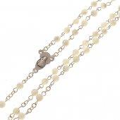 Immagine di 'Rosario imitazione madreperla bianca con croce in metallo - grani tondi 4 mm'