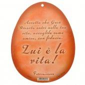Immagine di 'Uovo rosso in PVC da appendere con augurio pasquale - altezza 10 cm'