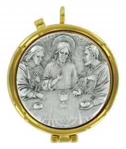 Copertina di 'Teca eucaristica ostie con placca in peltro Ultima Cena - Ø 5,4 cm'