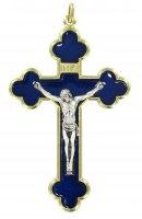Croce in metallo dorato con smalto blu - 6 cm