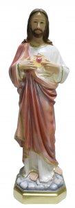 Copertina di 'Statua Sacro Cuore di Gesù in gesso madreperlato dipinta a mano - 80 cm'