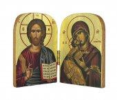 Dittico stile icona, Cristo Pantocratore e Madonna con bambino, produzione greca in legno - 9,5 x 7 cm