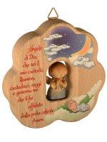 Nuvola in legno dipinta con Angioletto blu e preghiera di  su LibreriadelSanto.it