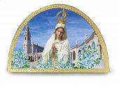 Tavola Madonna di Fatima stampa su legno ad arco - 18 x 12 cm