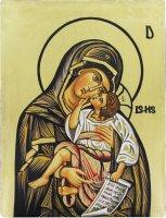 Icona Madonna con Bambino dipinta a mano su legno con fondo orocm 19x26