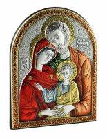 Quadretto arcato con Sacra Famiglia in bilaminato d'argento con dettagli colorati