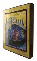 Immagine di 'Icona Gesù e Discepoli - tempesta sedata, produzione greca su legno (29,5 x 26,5 cm)'