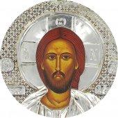 Immagine di 'Icona Cristo Pantocratore con riza resinata color argento - 12 x 8 cm'