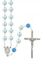 Rosario Pater in imitazione di perla di vetro azzurro