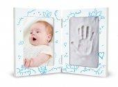 Portafoto azzurro con Kit impronte