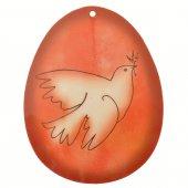 Uovo rosso in PVC da appendere con augurio pasquale - altezza 10 cm