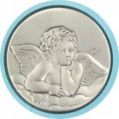 Immagine di 'Sopraculla tondo di colore azzurro con angioletto in argento - diametro 9 cm'