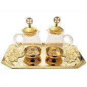 Servizio ampolline in vetro con vassoio in bronzo dorato e decoro a grappoli d'uva in rilievo - capienza 160 cc