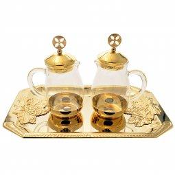 Copertina di 'Servizio ampolline in vetro con vassoio in bronzo dorato'