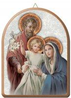 Tavola Sacra Famiglia stampa su legno ad arco - 15 x 20 cm