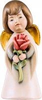 Angelo sognatore con rosa - Demetz - Deur - Statua in legno dipinta a mano. Altezza pari a 16 cm.