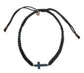 Braccialetto in corda con croce con strass azzuri in argento 925 con bagno oro rosa