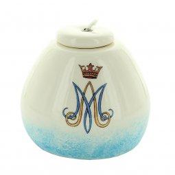 Copertina di 'Lampada ad olio in ceramica color avorio con monogramma mariano - altezza 8 cm'