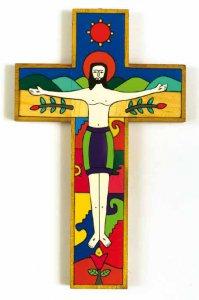 """Copertina di 'Croce in legno """"Gesù vincitore, risorto"""" - altezza 25 cm'"""