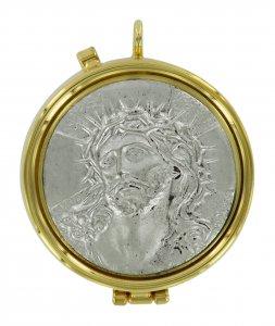 Copertina di 'Teca eucaristica ostie con placca in peltro Ecce Homo - Ø 5,4 cm'