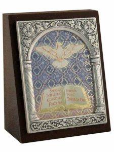 """Copertina di 'Icona in lamina d'argento """"I Sette doni dello Spirito Santo"""" - dimensioni 6,5x5,2 cm'"""