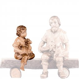 Copertina di 'Fanciullo seduto con capretto H.K. - Demetz - Deur - Statua in legno dipinta a mano. Altezza pari a 11 cm.'