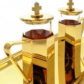 Immagine di 'Servizio ampolline dorate con corazzature ottagonali e vassoio rettangolare in ottone dorato'