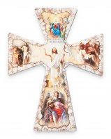 """Croce in legno effetto pietra """"Tempo pasquale"""" - altezza 23 cm"""