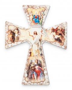 """Copertina di 'Croce in legno effetto pietra """"Tempo pasquale"""" - altezza 23 cm'"""