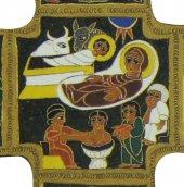Immagine di 'Croce Natività stampa su legno di spessore alto - 14 x 9 cm'